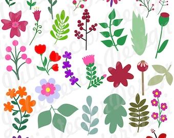 Flower SVG, Floral svg, Flower SVG cut File, Flower svg, Flower Clip Art, svg, dxf, png, ai, eps, Flower Design Elements Digital Clipart