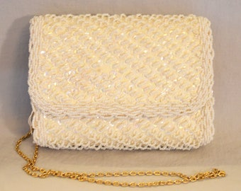 Vintage Purse or Clutch - White Satin with Lucite Sides, Sequins and Beading, 1960s, Stylecraft