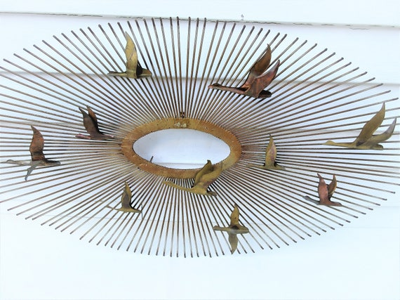 Charming Mid Century Modern Wall Art | Starburst Wall Hanging | Brass And Copper  Sculpture | Brutalist Wall Decor | Metal Seagulls | Signed | As Is Amazing Pictures