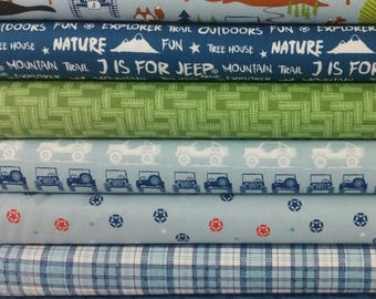 J is For Jeep Blue Bundle from Riley Blake - 7 Fabrics