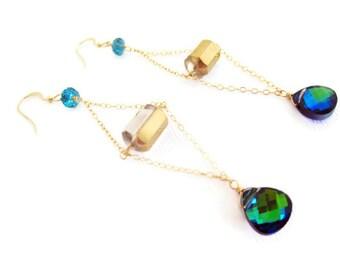 Vintage Swarovski Crystal Earrings Vintage Crystal Bead Jewel Tones Long Colorful Earrings Statement Earrings Fall Winter Gift Idea For Her