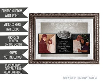 25th Anniversary Gift - 25th Wedding Anniversary - Gift For Parents - Gift for Couple - Silver Anniversary - Personalized - Photo