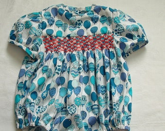 Unique Vintage Style Hand Smocked Romper for baby aged 6 - 9 months