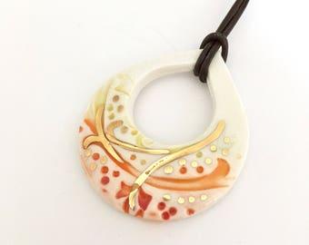 Ceramic pendant, gold lustre