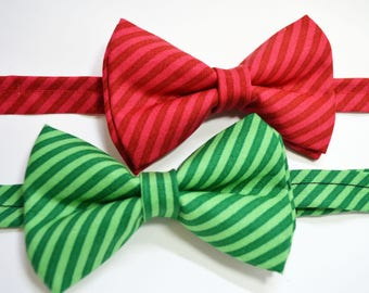 Christmas Red Or Green Stripe bow tie,boys bow tie,Green bow tie,mens bow tie,baby bow tie,Christmas bow tie,red bow tie