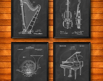 SET of 4 MUSIC Art Posters, Vintage Patent Illustration, Art Print or Canvas, Wall Art, Classical Music, Musical Instruments, Gift - s1059