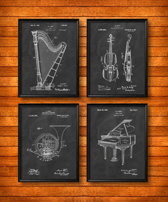 SET Of 4 MUSIC Art Posters Vintage Patent Illustration