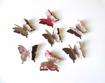 3D Paper Butterflies, layered butterflies, butterflies wall art, fall wedding decor, woodland theme wedding, bridal shower decor