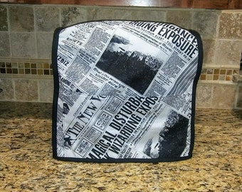 Handmade Fabric Kitchenaid or Kitchen aid Mixer Cover in a Harry Potter Fantastic Beasts and Where to Find Them Newspaper print