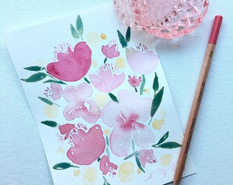 5X7 Pink Floral Print