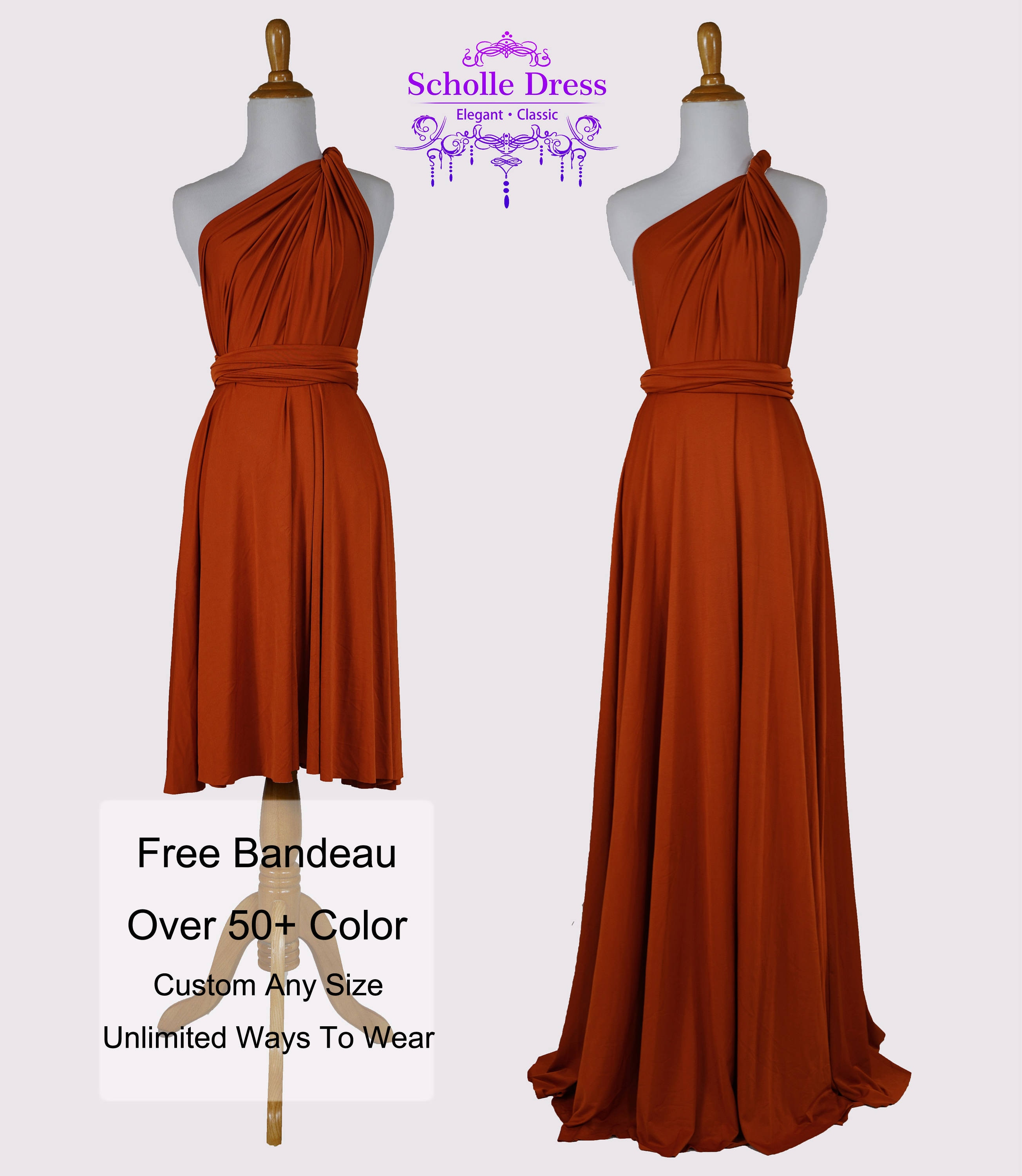 Burnt orange bridesmaid dresses gown convertible dress wrap zoom ombrellifo Image collections