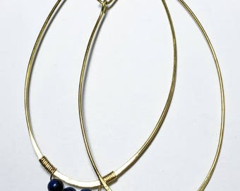 Perfectly Imperfect lapis hoop earrings