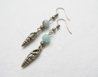 Shell earrings, amazonite earrings, beach jewelry, bronze earrings