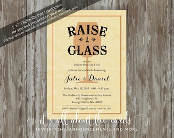 "Bridal/Wedding Shower invitations - Digital file ""Raise Your Glass"" design"