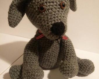 Handmade Amigurumi Crochet Dog Stuffed Cuddly Toy Animal Grey