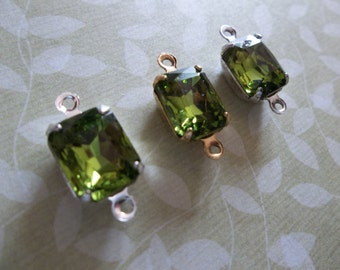 Octagon Charms - Green Olivine Czech Glass - 10X8mm Gems - Prong Settings Jewel Drops - Your Color Choice Metal Setting - Qty 2