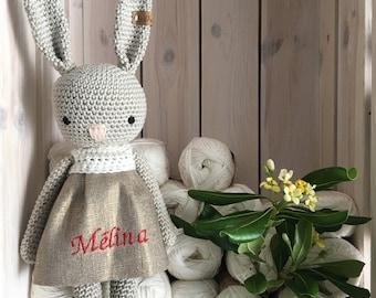 Bunny with personalized dress, crochet toys, personalized bunny, crochet toy, baby bunny, special gift,newborn birth gift,bunny,newborn prop