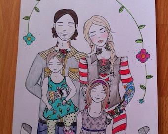 Custom portrait // Family of 4