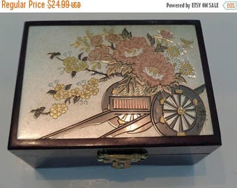 Vintage  Lacquer Jewelry Box  / Chokin Art Trinket Box / Japanese Jewelry Box