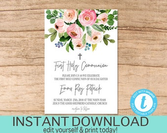 First communion invitation editable 1st holy communion party first communion invitation editable 1st holy communion party invitation printable girl or boy first religious invite instant download solutioingenieria Image collections