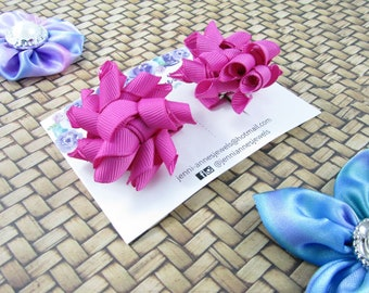 Mini Korker Bows Clips - Set of 2 - Dark Pinks