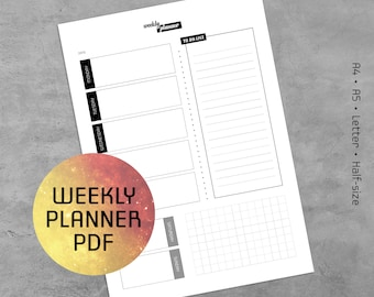Weekly Planner Printable PDF, Printable Weekly Log  2018  Template, Notes Pages, A4, A5, Letter, Half-size