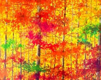 Painting landscape, autumn forest - Sabrina RIGGIO
