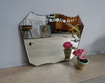 Antique vintage beveled mirror crafted patterned bohemian Beatnik Old Beveled and Chiseled Bohemian Beatnik Mirror Vintage 1950