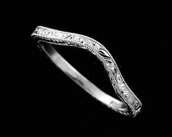 band engraved bands estate platinum asp wedding