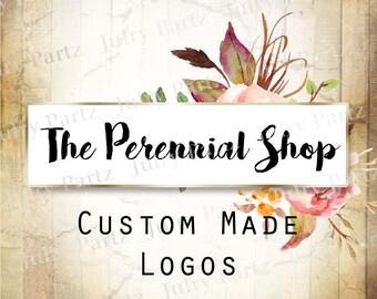 LOGO in Pink PERENNIAL•Premade Logo•Jewelry Card Logo•Flower Logo•Custom Logo•Shop Logo