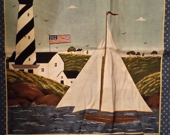 Sailboat Lighthouse Island Scene Fabric Panel 17z22 in