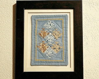 Mathematically Abstrace Fish Textile Creation--Mini Quilting--Framed--Home Decor--Art--Wall Hanging--Shipping Included