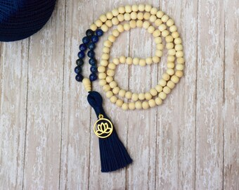 Handmade Jewelry, Navy Blue Tassel Necklace, Mala Necklace, Mala Bead,Buddhist Prayer Beads, 108 Mala Bead, Yoga Necklace, Bohemian Necklace