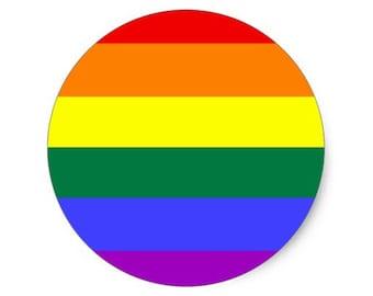 Gay pride rainbow 38mm pin badge