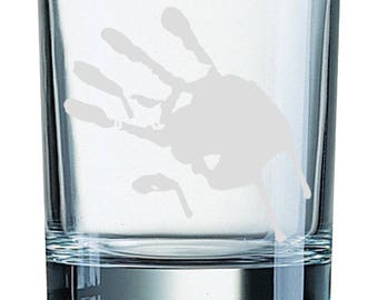 Bloody handprint - Etched glass Tumbler (300ml)