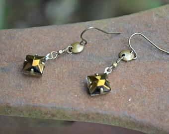 Bronze Earrings with Brass Accents handmade gift