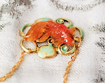 summer necklace orange jewelry original fish pendant necklace yellow jewelry gifts mother boho chic necklace  Рю171