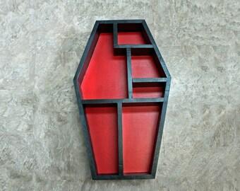 "Coffin Shadow Box, 32"" x 17"", Coffin Wall Shelves, Cubby Shelf, Gothic Decor, Halloween Display, Goth Knick Knack Storage, Curio, Oddities"