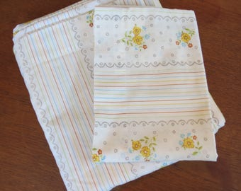 Vintage Sheet Set - Scalloped Lace Floral Stripe - Full or Double Flat Sheet & Pillowcase