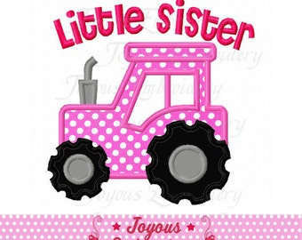 Instant Download Little Sister With Tractor Applique Machine Embroidery Design NO:2074