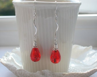Sale, Murano Long Glass Earrings