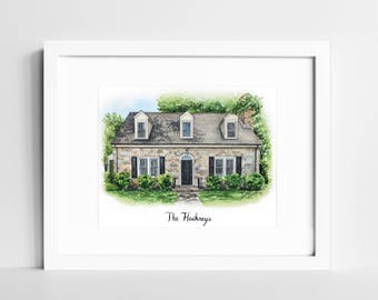 House Portrait Watercolor   Custom Home Painting   Our First Home   Personalized Housewarming Gift    New Home Gift   Gift for Parents