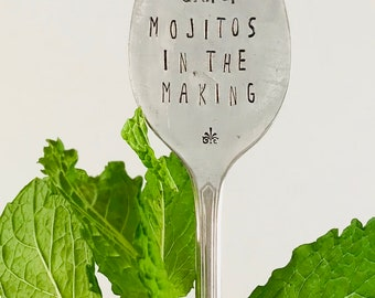 Flat Spoon, MINT, Mojitos in the Making, garden marker, plant marker, herbs, gifts for gardeners, gifts under 10, funny garden sign, long