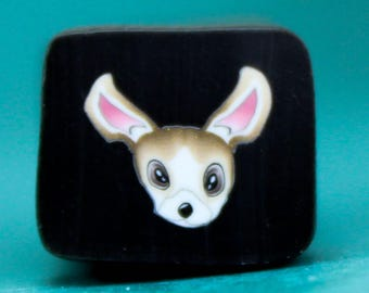CHIHUAHUA Extra-Small Polymer Clay Dog Cane -'Puppy Love' (34ee)