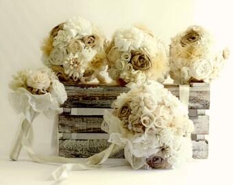 Tans ivory bouquet set, bridal bouquet, bridesmaids bouquets, boho wedding, natural colors bouuqet