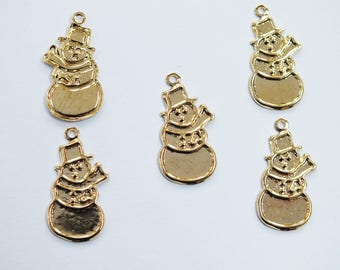 LOT 5 METALS CHARMS Gold: snowman 23mm