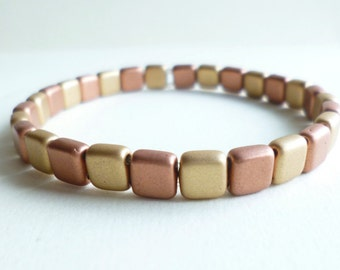 Gold and Bronze Bracelet, Gold and Bronze Stretch Bracelet, Gold Bracelet, Bronze Bracelet, Gold and Bronze Square Bracelet, Czech Bracelet