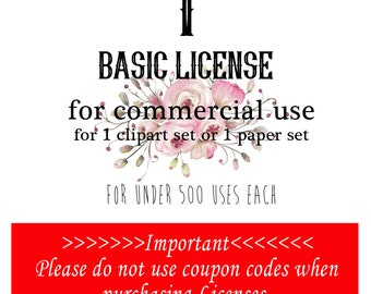 1 Commercial License for one set of clipart or digital papers. No Coupon Codes Please.