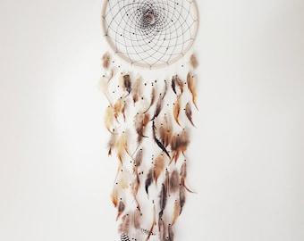 "Large Boho brown/grey feather Dreamcatcher 10"", Wall decor, Bohemian, wall art, Woodland Nursery, feather wall hanging Dream catcher"