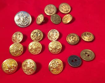 MILITARY BUTTONS, WWII, Navy, Army, Eagle, Anchor, Wings, Oak Leaf, 19 Buttons, Waterbury Button Co, Superior Quality